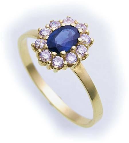 Damen Ring echt Safir 6 x 4 echt Gold 585 Zirkonia Gelbgold Saphir 14 karat Neu