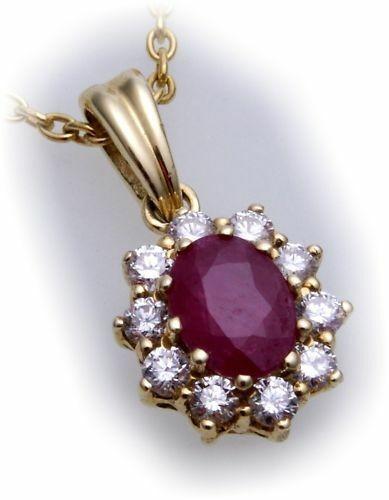 Anhänger Gold 585 echt Rubin 7x5mm 10 Brillanten 0,40ct 14kt Gelbgold Diamant