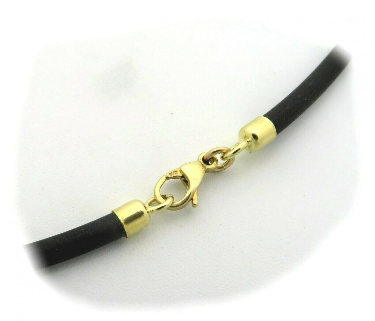 Collierkette Kautschuk mit Gold 585 3,0 mm Länge- 80 cm Gelbgold Halskette 14 kt