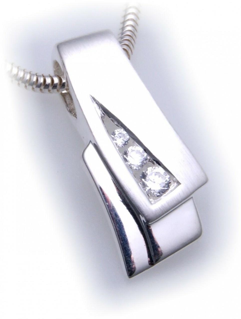 exkl. Damen Anhänger Silber 925 mit Zirkonia teilmatt Qualität Sterlingsilber
