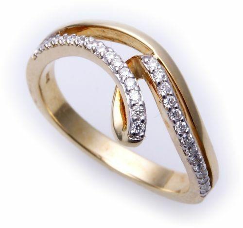 edler Damen Ring Brillant 0,195 carat echt Gold 585 Gelbgold Diamant SI