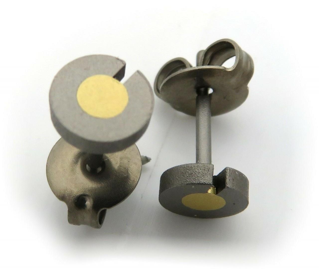 Ohhringe Stecker Titan mit Goldeinlage echt 750 18kt Ohrstecker rund Qualität