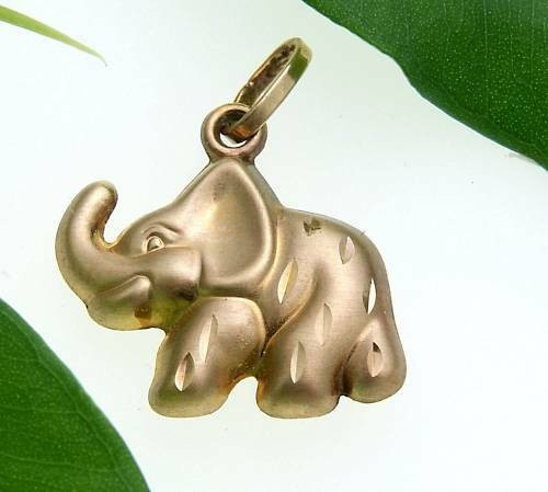 Anhänger Elefant plastisch 3D mattiert 585 Gold Gelbgold Unisex 14kt