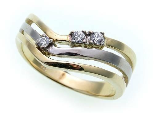 Damen Ring echt Gold 585 Zirkonia rhodiniert Gelbgold 14kt Qualität
