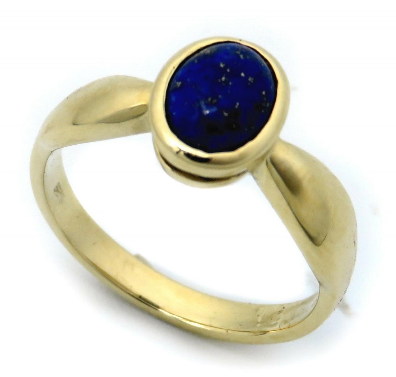 Damen Ring echt Lapislazuli 8 x 6 echt Gold 333 Zarge Gelbgold Qualität Lapis