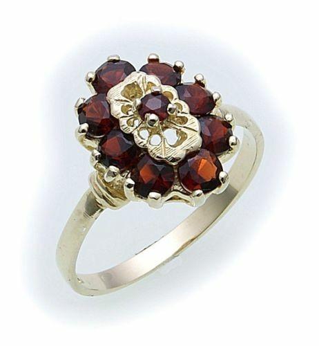 Damen Ring m. Granat in Gold 585 Gelbgold Granatring alle Weiten 8262/5GR