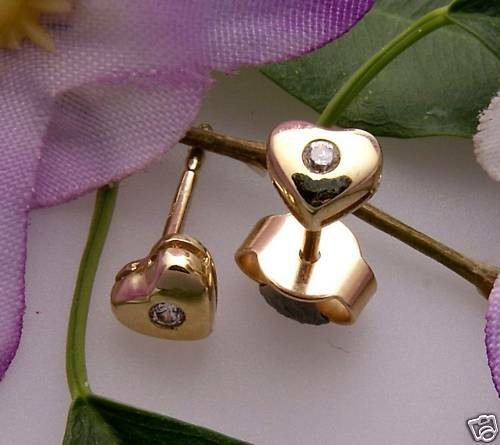 Kinder Ohrringe Ohrstecker Herz Zirkonia Gold 333 8kt Stecker Gelbgold Qualität