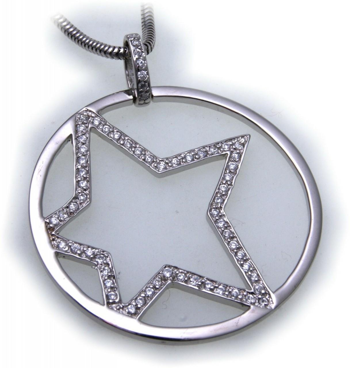 Anhänger Stern echt Silber 925 Zirkonia Sternform Sterlingsilber
