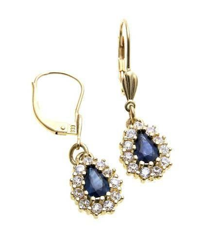 Damen Ohrringe Hänger echt Safir Gold 333 Zirkonia Ohrhänger Gelbgold Saphir