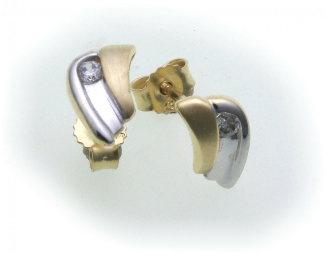 Neu Damen Ohrringe Ohrstecker Gold 333 Zirkonia Bicolor 8kt Stecker Gelbgold Top