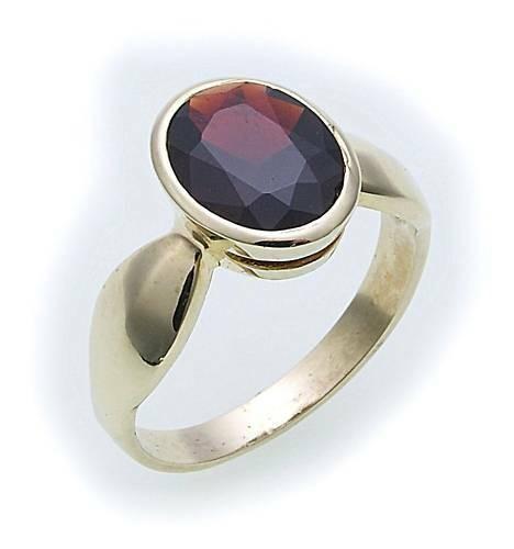 Damen Ring m. Granat in Gold 585 Gelbgold Granatring alle Weiten 8091/5GR