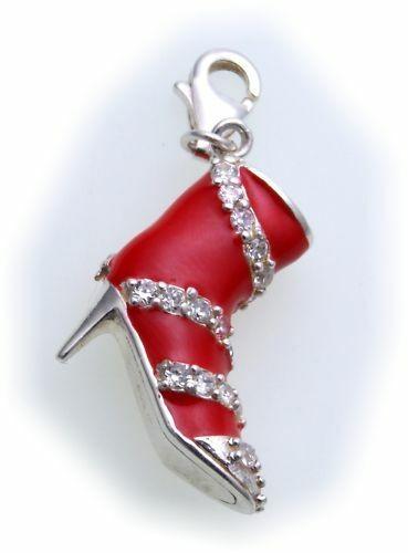Charm Schuh High Heels rot Zirkonia Silber 925 Sterlingsilber Qualität