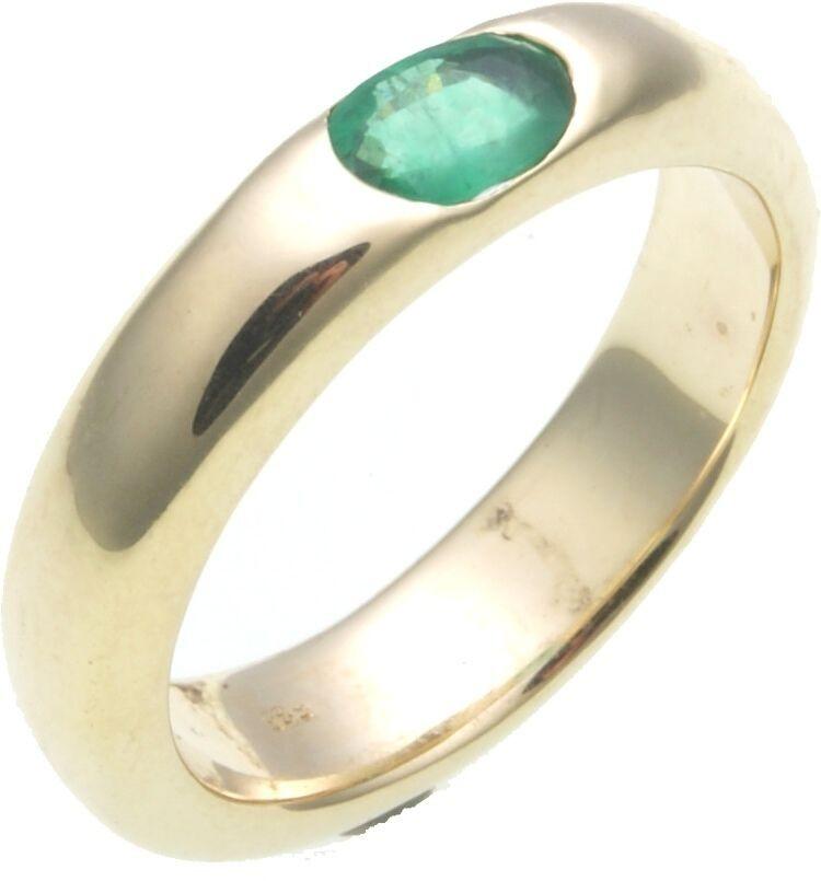 Damen Ring echter Smaragd 6 x 4 mm Gold 585 Gelbgold vollmassive Qualität
