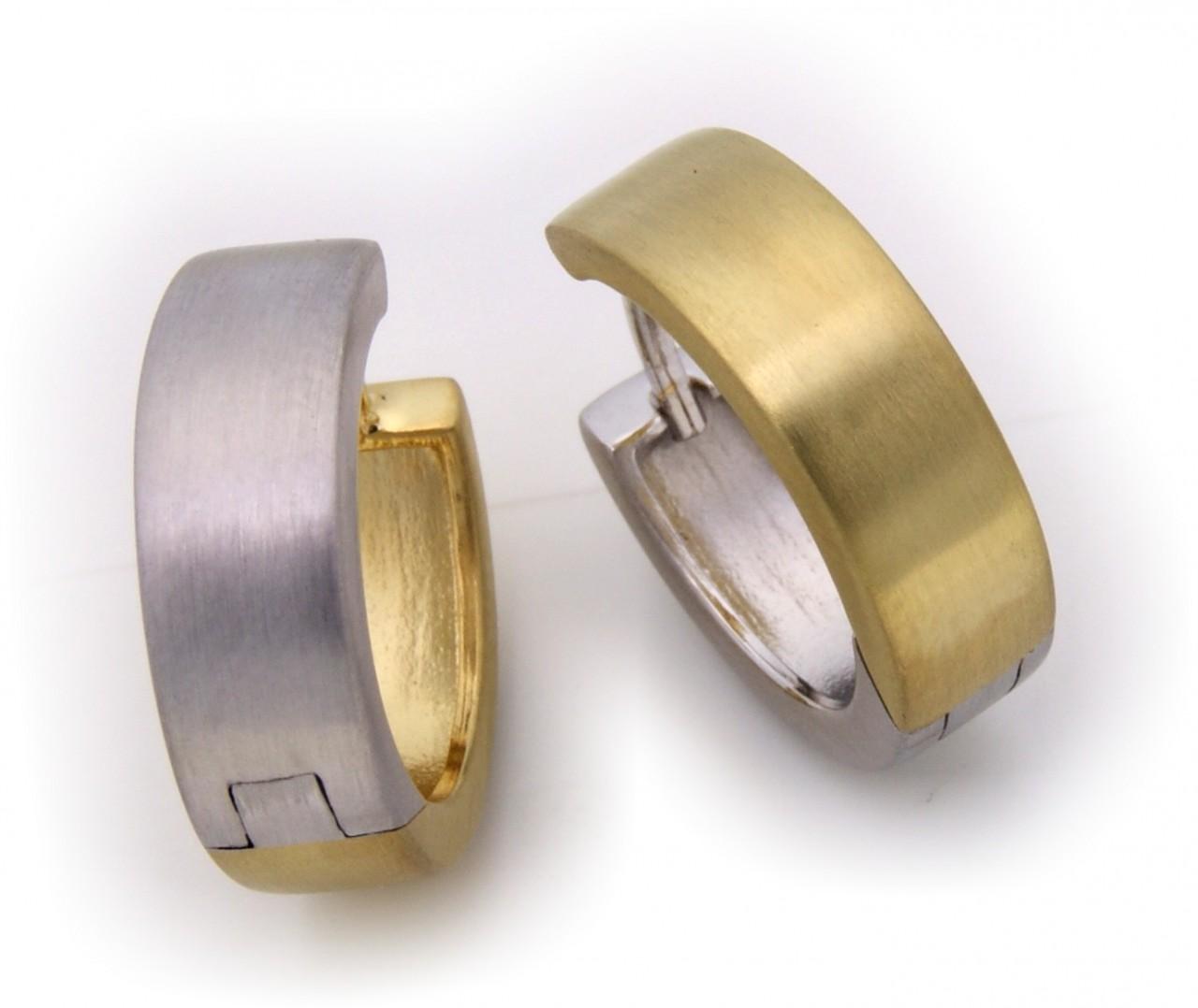 Ohrringe Klapp-Creolen eckig echt Silber 925 Bicolor 17 mm Sterlingsilber gelb weiß mattiert