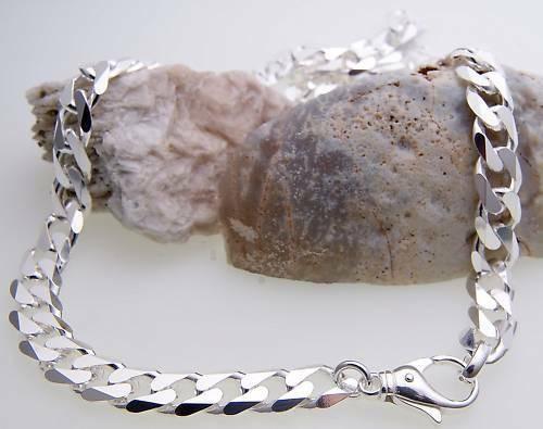 Panzerkette diamant. echt Silber 925 9 mm 60 cm Halskette Sterlingsilber Unisex