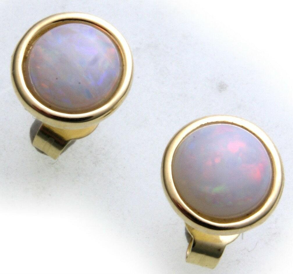 Damen Ohrringe echt Opal 6 mm echt Gold 333 Stecker Gelbgold Ohrstecker Qualität