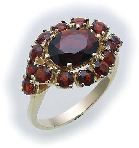 Damen Ring m. Granat in Gold 585 Gelbgold Granatring alle Weiten 8305/5GR
