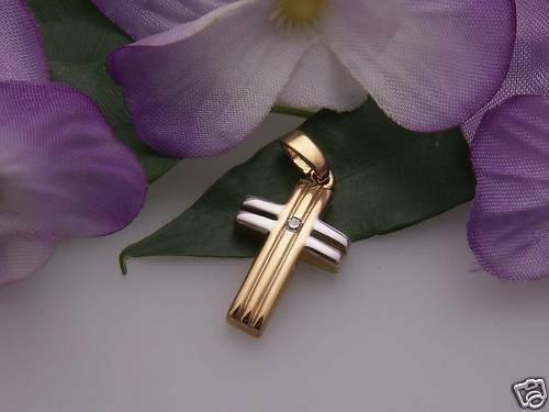 Anhänger Kreuz echt Gold 333 Zirkonia teilrhod. Gelbgold Unisex
