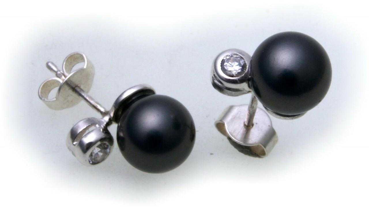Damen Ohrringe Ohrstecker Perlen echt Silber 925 Zirkonia Sterlingsilber BR2041