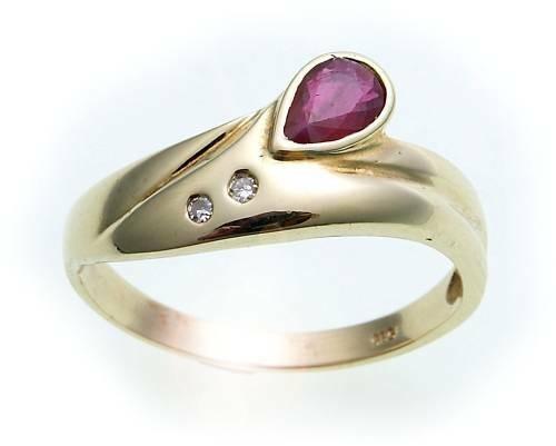 Damen Ring Rubin 6 x 4 echt Gold 585 Brillant 0,02ct Gelbgold Qualität Diamant