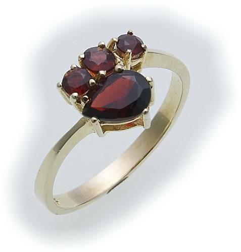 Damen Ring m. Granat in Gold 333 Granatring alle Weiten Gelbgold Qualität 8287/3
