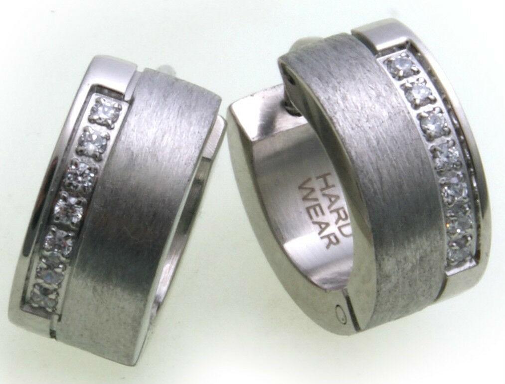 Klapp Creolen Edelstahl Zirkonia 14 mm Hardwear Landmesser Ohrringe Damen