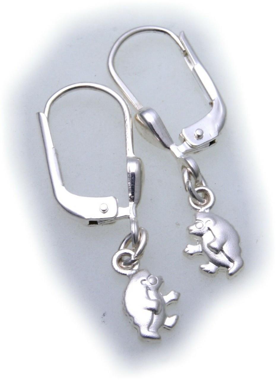 Ohrringe Hänger Igel echt Silber 925 massiv mattiert Kinderohrringe Ohrhänger