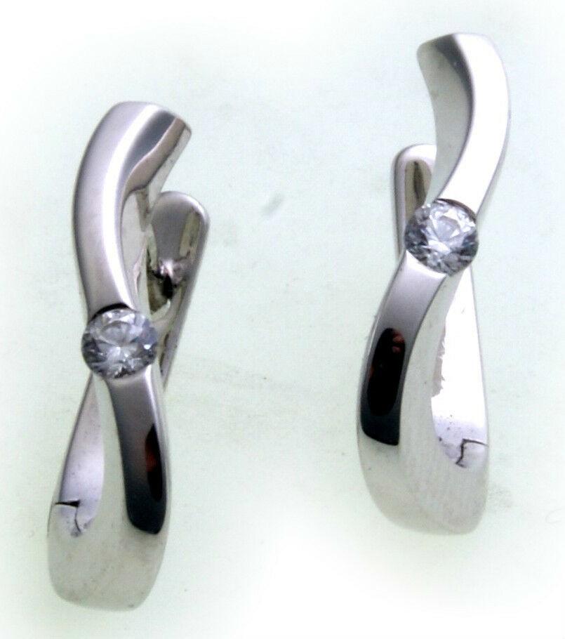 Damen Ohrringe Klapp Creolen Silber 925 Sterlingsilber Zirkonia Qualität Neu