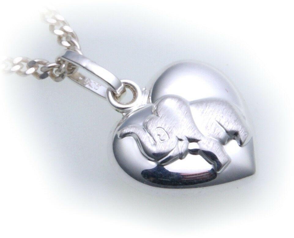 Anhänger Herz echt Silber 925 Elefant plastisch teilmatt Sterlingsilber Unisex
