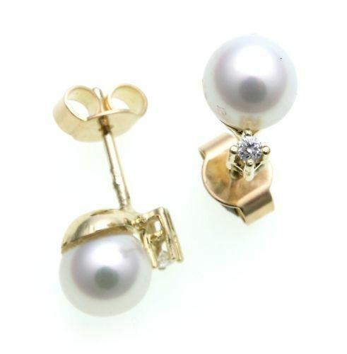 Damen Ohrringe Gold 585 Gelbgold Brillant 0,03ct Perlen Diamant Ohrstecker