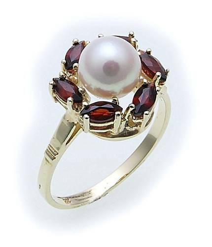 Damen Ring m. Granat u. Perlen in Gold 585 Gelbgold Granatring 8525/5GR.ZP
