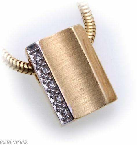 Anhänger mit Brillant 0,037 carat echt Gold 585 matt. Diamant Gelbgold