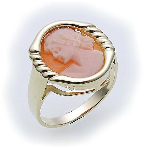 Damen Ring m. Granat u. Muschelgemme Gold 333 Gelbgold Granatring 8074/3GE