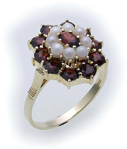 Damen Ring m. Granat u. Perlen in Gold 585 Gelbgold Granatring 8118/5GR.ZP