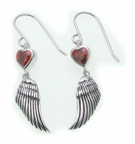 Damen Ohrringe Hänger Flügel mit Herz echt Silber 925 rot Sterlingsilber