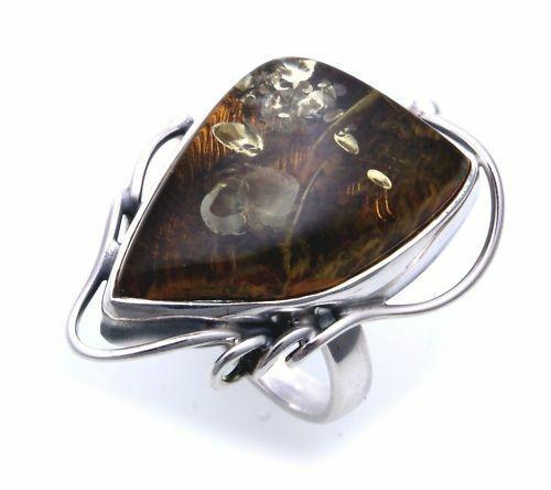 Damen Ring groß echter Bernstein a d Ostsee Silber 925 Sterlingsilber 10