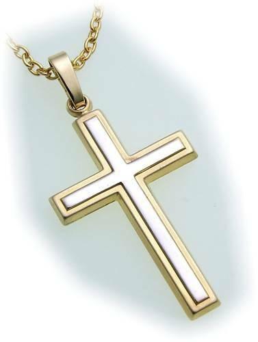Anhänger Kreuz teilmatt. rhod.echt Gold 585 32 mm Gelbgold Unisex