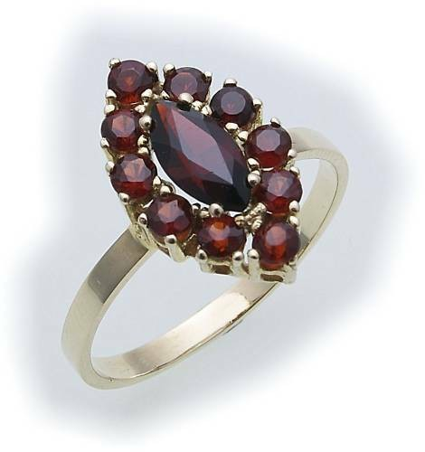 Damen Ring m. Granat in Gold 585 Gelbgold Granatring alle Weiten 8315/5GR