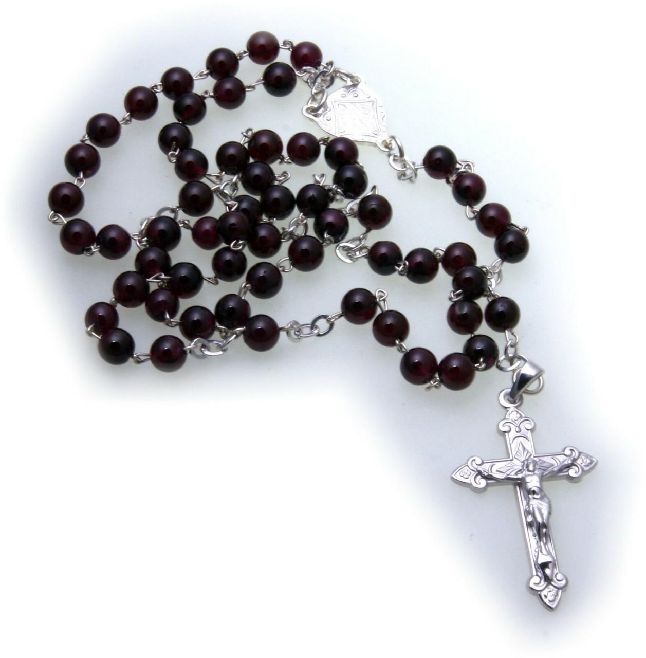 Halskette Rosenkranz Kreuz Jesus Silber 925 Sterlingsilber Granat Kugel 50 cm