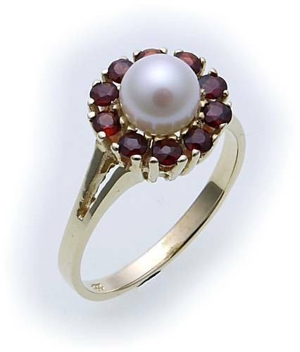 Damen Ring m. Granat u. Perlen in Gold 585 Gelbgold Granatring 8270/5GR.ZP