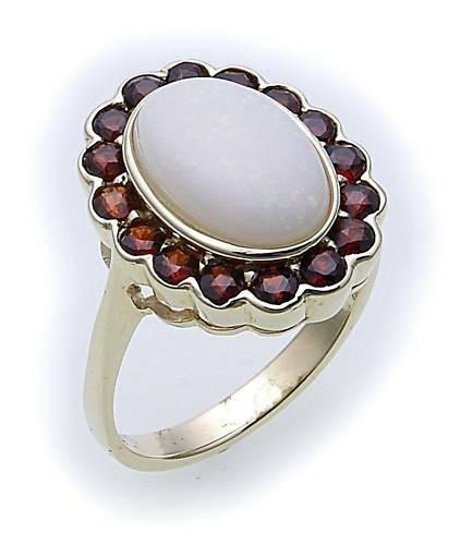 Damen Ring m. Granat u. Opal in Gold 585 Gelbgold Granatring 8909/5GR.OP