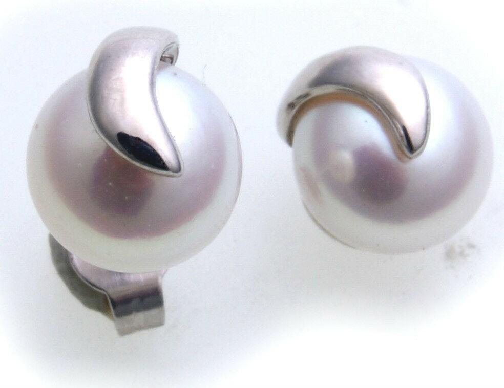 Ohrringe Zuchtperlen 7,5mm Weißgold 585 Perle Ohrstecker Stecker Perlen er-Gold