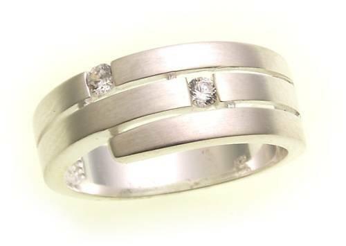 Damen Ring echt Silber 925 Zirkonia mattiert Sterlingsilber