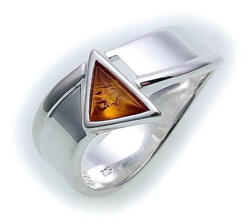 Damen Ring echt Bernstein in Silber 925 Sterlingsilber Bernsteinring