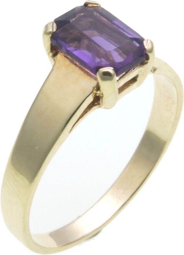 Damen Ring echter Amethyst 8 x 6 mm Gold 585 Gelbgold 8kt Qualität