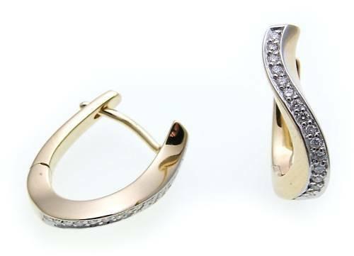 Damen Ohrringe Klapp Creolen Gold 585 mit Brillant 0.176ct Gelbgold Diamant