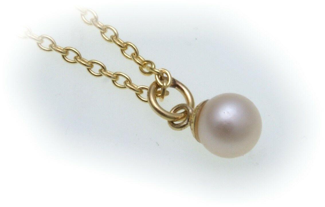 Collier echt Gold 333 mit Perle 6 mm Ankerkette 8kt Sonderpreis Perlen Gelbgold