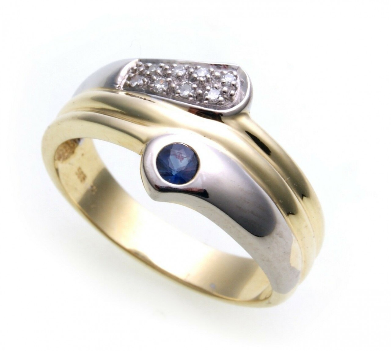 Damen Ring Saphir echt Gold 585 Brillant 0,08 ct 14 karat Gelbgold Diamant Neu