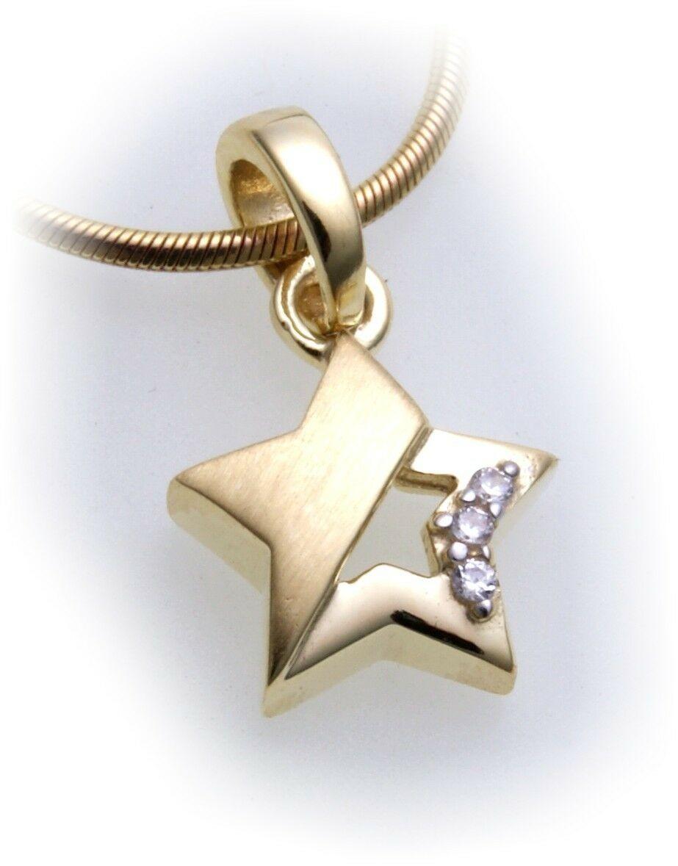 Anhänger Stern Zirkonia echt Gold 333 Gelbgold Unisex Damen Qualität