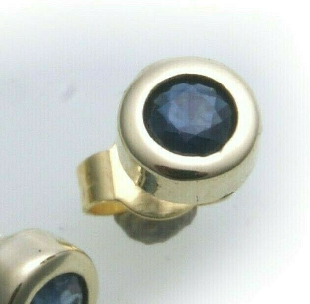 Herren Single Ohrringe Stecker Saphir echt Gold 585 Ohrstecker 14 karat Gelbgold